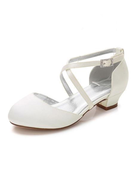 Milanoo Zapatos de Florista de puntera redonda Planos 3cm con cristalde lujo para niños en edad de aprender a andar