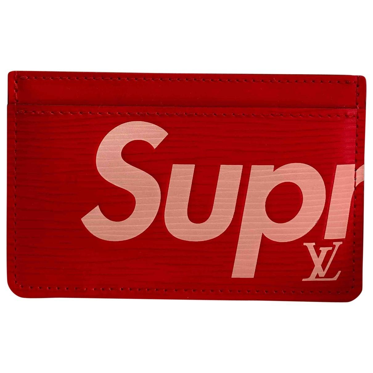 Louis Vuitton X Supreme - Petite maroquinerie   pour homme en cuir - rouge