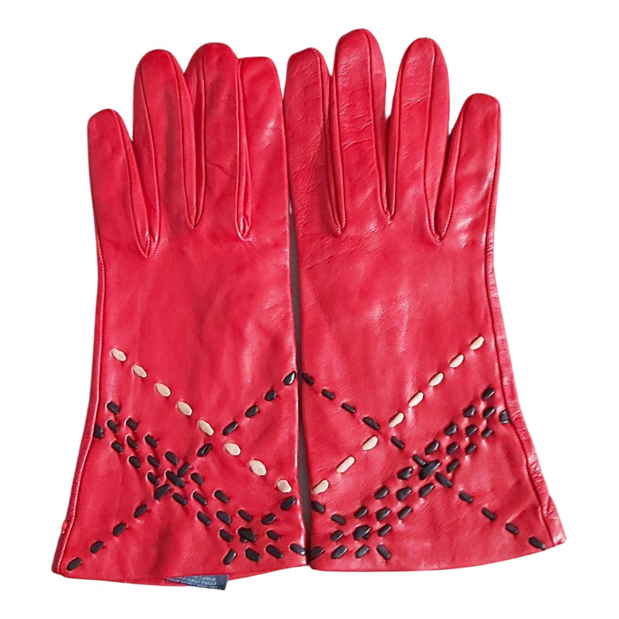 Burberry \N Handschuhe in  Rot Leder
