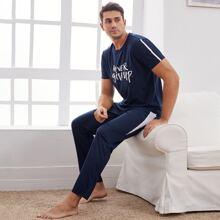 Conjunto de pijama con estampado de slogan