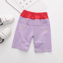 Toddler Boys Letter Graphic Topstitching Striped Shorts