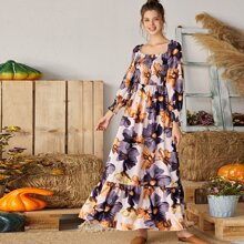 Floral Print Square Neck Shirred Dress