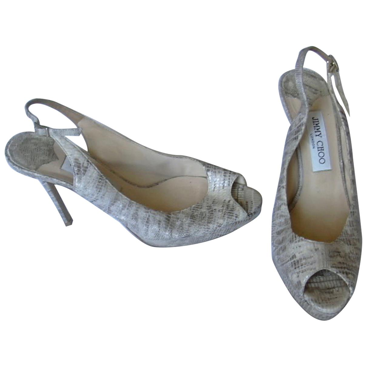 Jimmy Choo - Escarpins   pour femme en serpent deau - gris