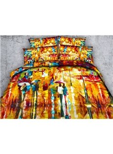 City in Rain Printed 4-Piece 3D Bedding Sets/Duvet Covers