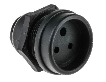 Bulgin Miniature Power Connector Panel Mount Socket, Solder Termination, 3A, 250 V ac
