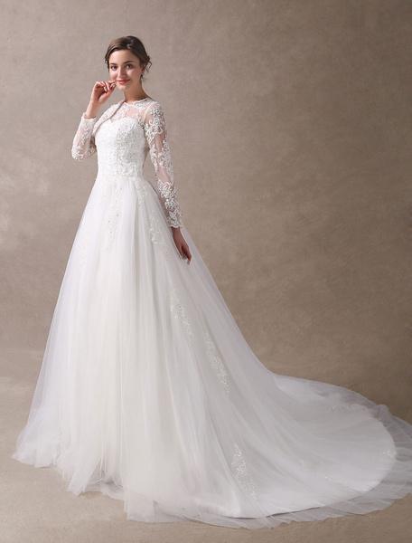 Milanoo Wedding Dresses Princess Ball Gowns Ivory Long Sleeve Lace Applique Beading Chapel Train Bridal Dress
