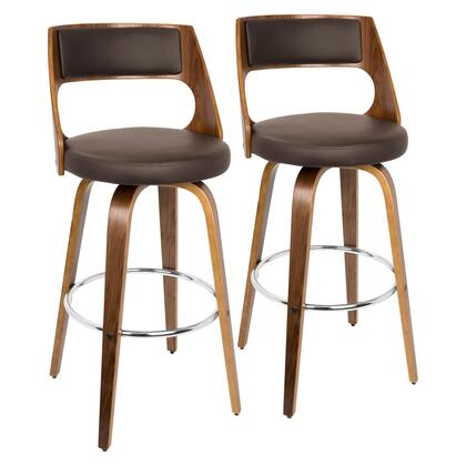 B30-CECINAR WLBN2 Cecina Mid-Century Modern Barstool with Swivel in Walnut and Brown Faux Leather- Set of