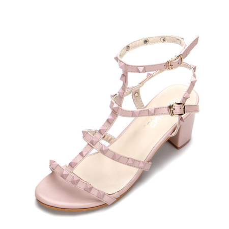 Yoins Pink T-bar Design Rivets Embellishment Block Heel Gladiator Sandals