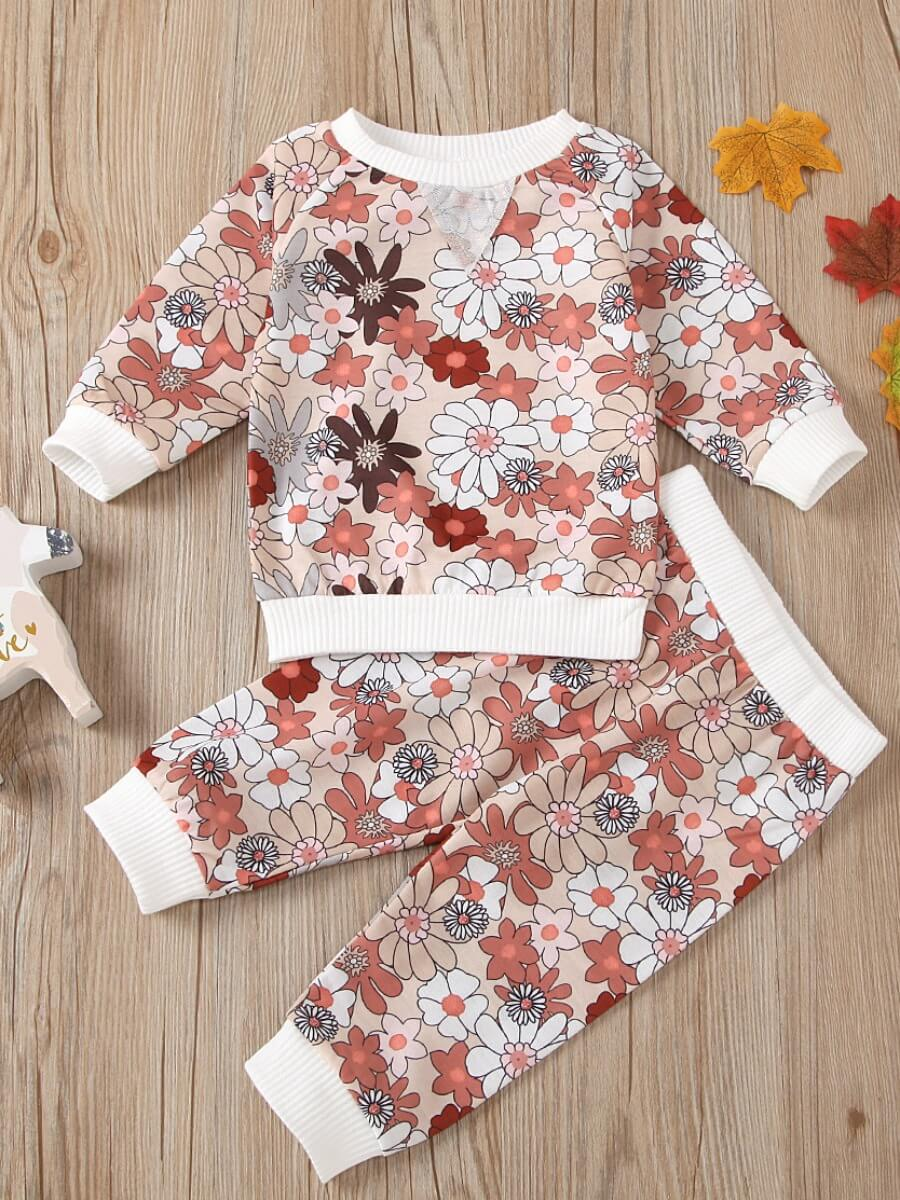 LW Lovely Sweet O Neck Floral Print White Girl Two-piece Pants Set