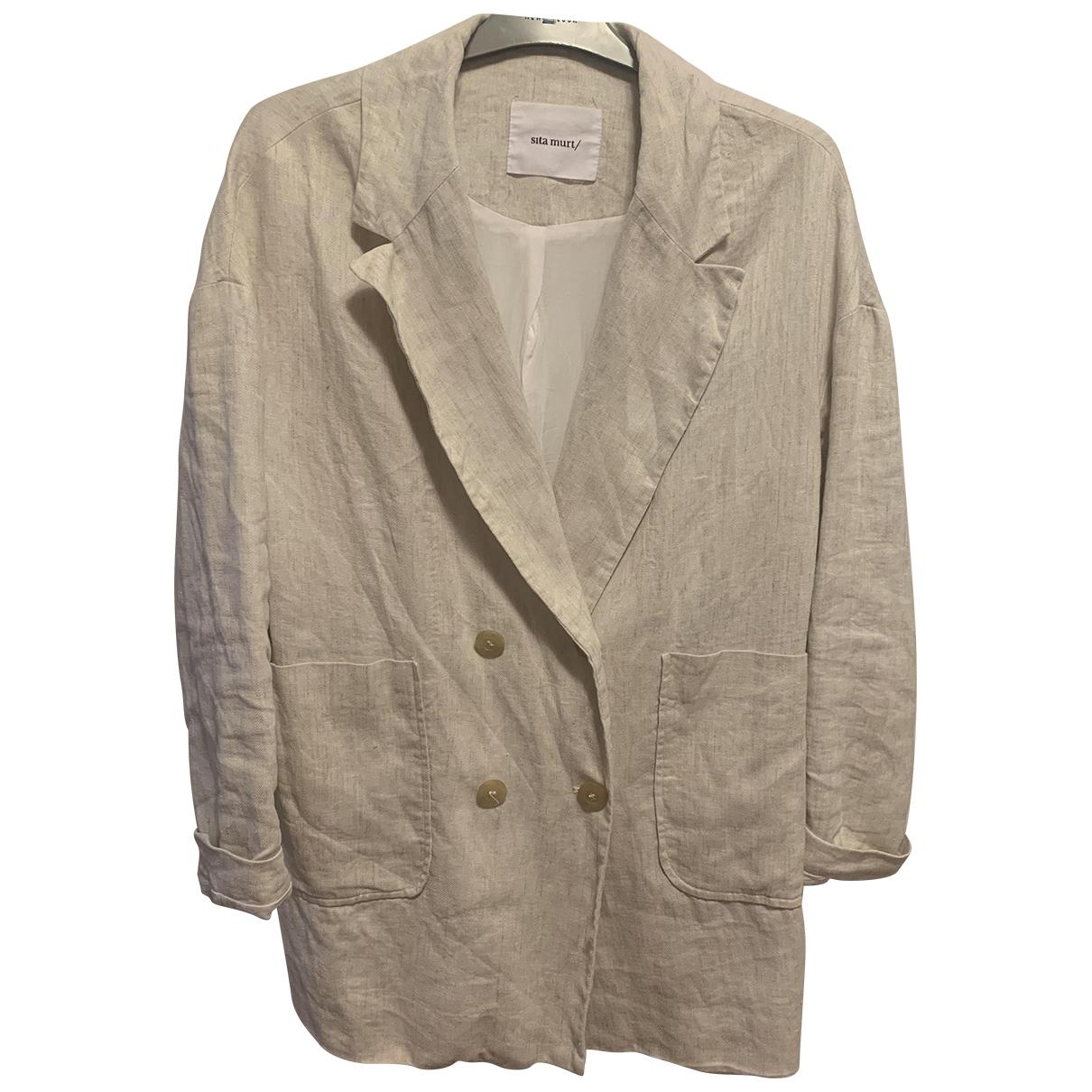 Non Signe / Unsigned Oversize Jacke in  Beige Leinen