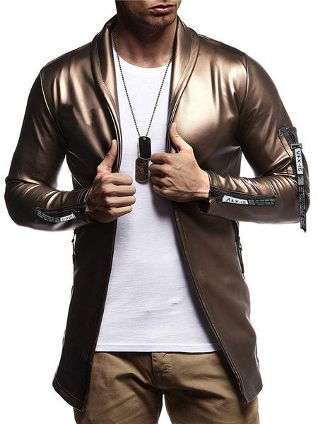 Milanoo Men Casual Jacket Shawl Lapel Zipper Decor Slim Fit Long Sleeve PU Jacket
