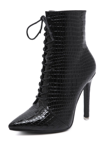 Milanoo Women Ankle Boots Croco Print Pointed Toe Stiletto Heel 4.1 Booties