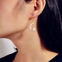 Faux Pearl Moon Drop Earrings