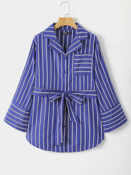 Yoins Plus Size Blue Belt Design Stripe Blouse