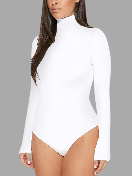 Yoins White Plain Perkins Collar Long Sleeves Bodysuit