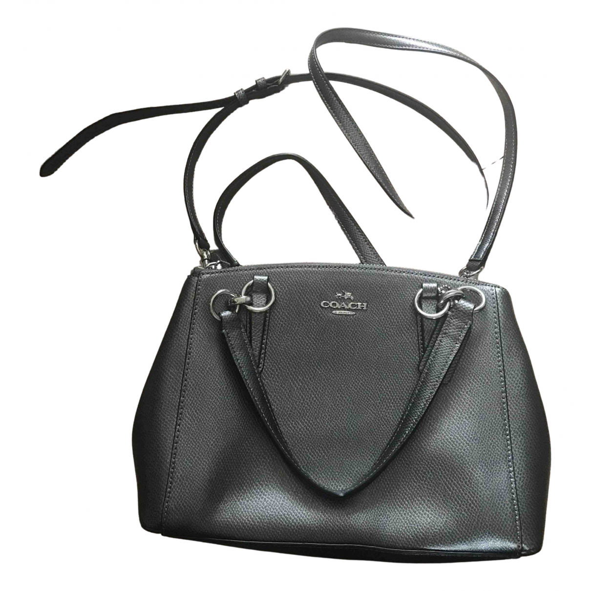 Coach Crossgrain Kitt Carry All  Silver Leather handbag for Women \N