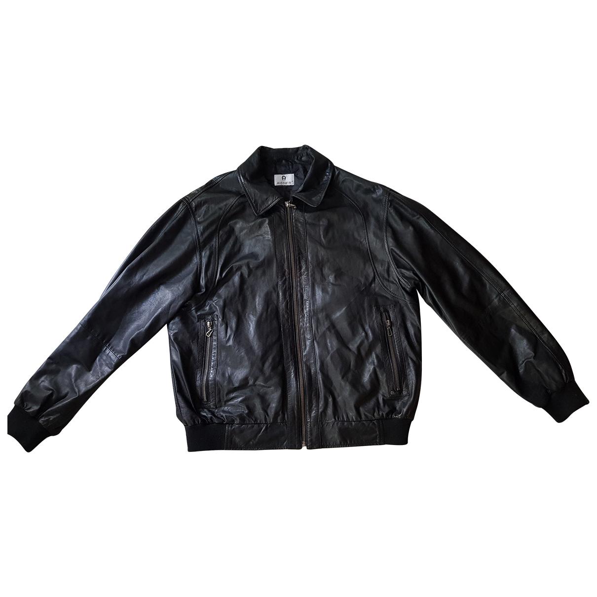 Aigner N Black Leather jacket  for Men 50 FR