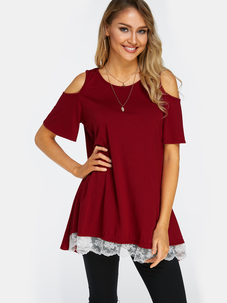 Yoins Red Lace Details Round Neck Short Sleeves T-shirt Dresses