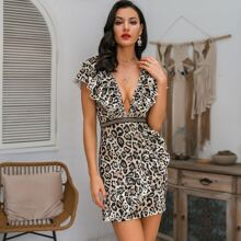 Glamaker Leopard Print Ruffle Trim Dress
