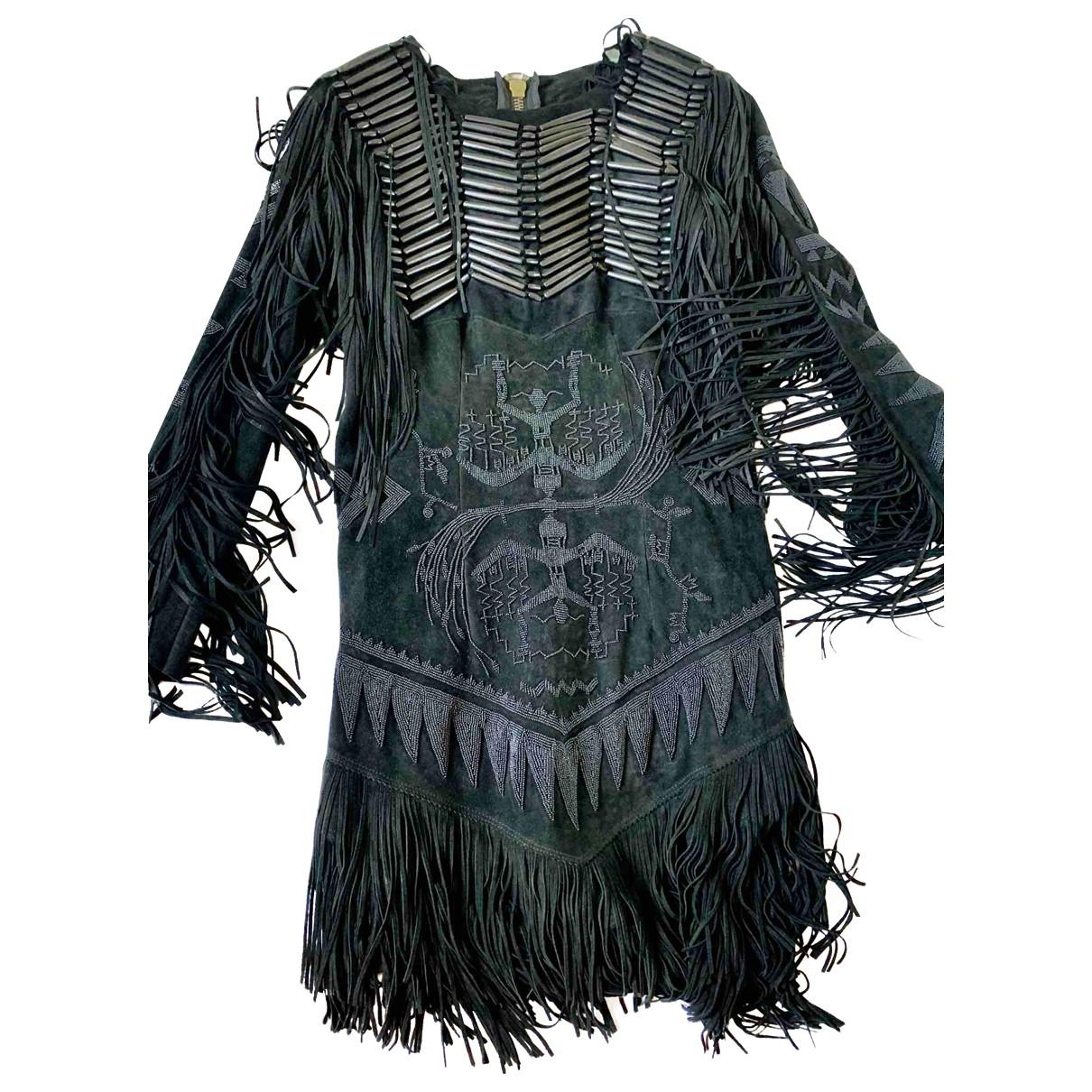 Balmain - Robe   pour femme en suede - noir