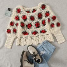 Rose Flower Fuzzy Knit Sweater