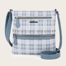 Studded Decor Zip Front Plaid Crossbody Bag