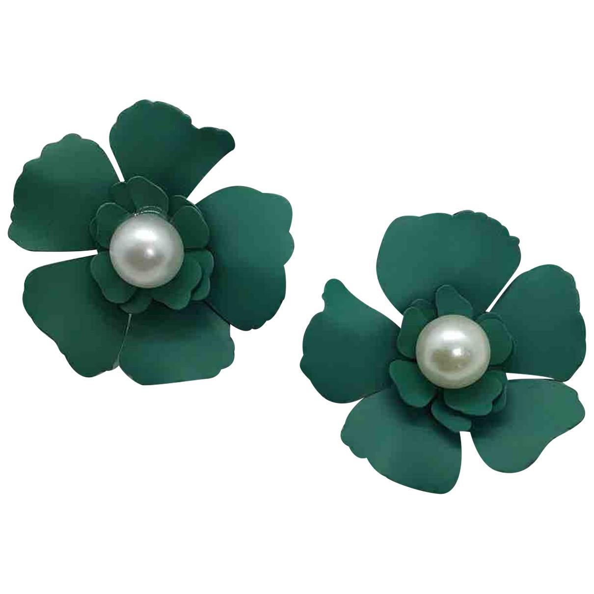 - Boucles doreilles Motifs Floraux pour femme en ceramique - vert