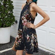 Rueckenfreies Kleid mit Blumen Muster, Kontrast Spitze und Band