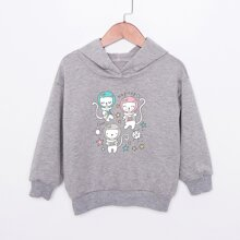 Toddler Girls Cartoon Cat And Letter Print Hoodie