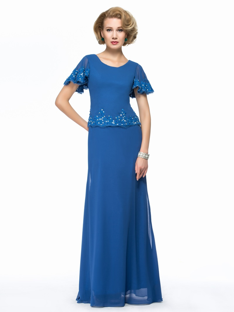 Ericdres Short Sleeves Beaded Appliques Mother of the Bride Dress