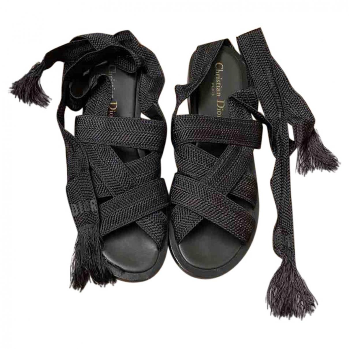 Dior Diorall Sandalen in  Schwarz Leinen