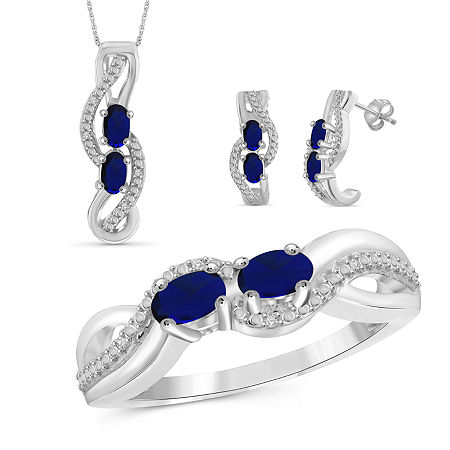 Diamond Accent Genuine Blue Sapphire Sterling Silver 3-pc. Jewelry Set, 7 , No Color Family