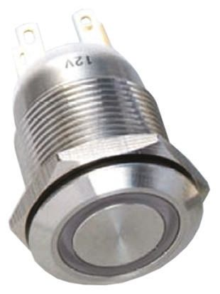EOZ Single Pole Double Throw (SPDT) Momentary White LED Push Button Switch, IP65, 19.2 (Dia.)mm, Panel Mount