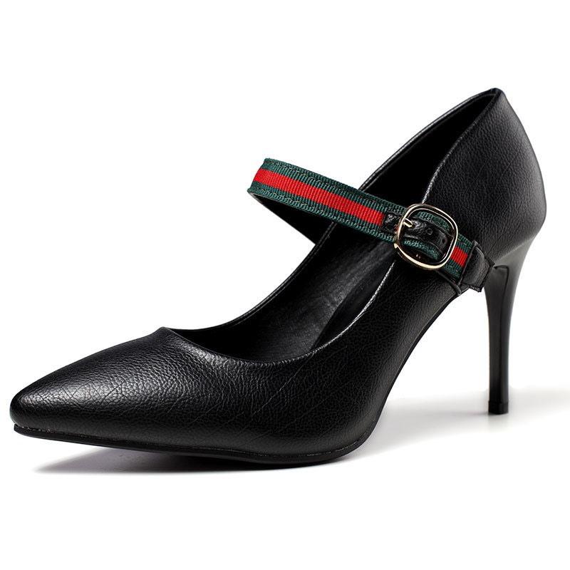 Ericdress Color Block Stiletto Heel Buckle Women's Pumps