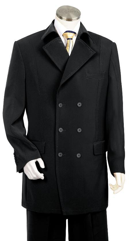 6 Button Black Zoot Suit Mens