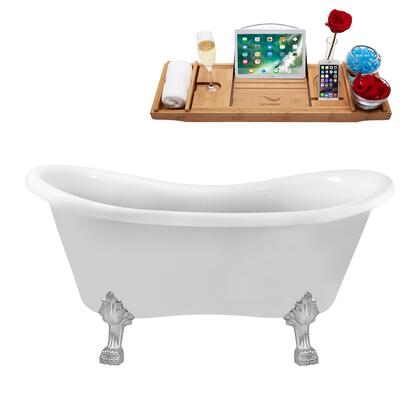 N1020CH-IN-BL 62 Clawfoot Tub and Tray with Black Internal Drain   Chrome Feet and Glossy White