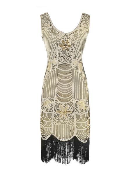 Milanoo 1920s Fashion Outfits Flapper Dress Great Gatsby Gold Tassels Vintage Charleston Dress Halloween