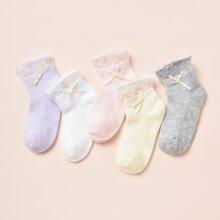 5 Paare Kleinkind Maedchen Socken mit Schleife und Netzstoff