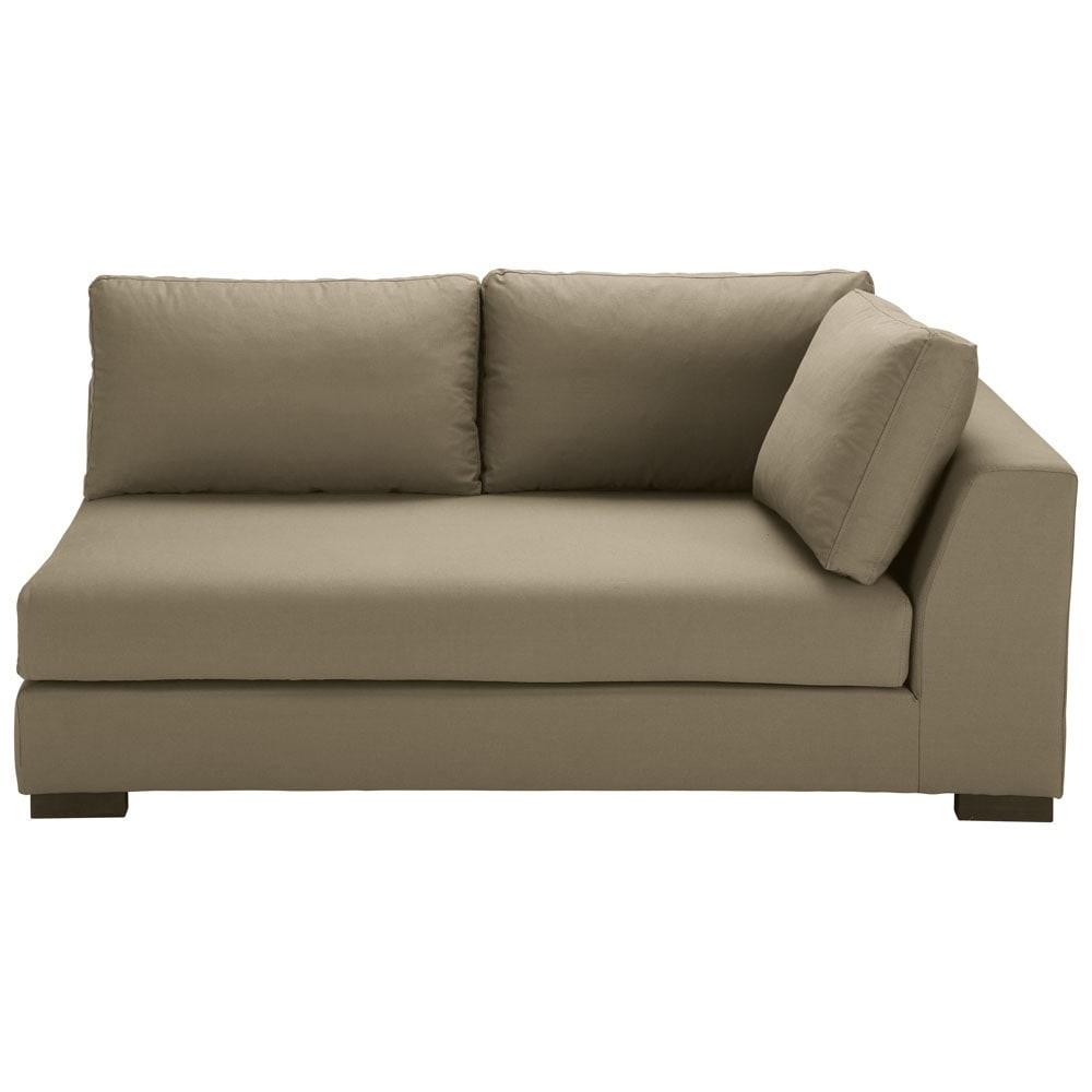Ausziehbares modulares Sofa mit rechter Armlehne aus Baumwolle taupe Terence