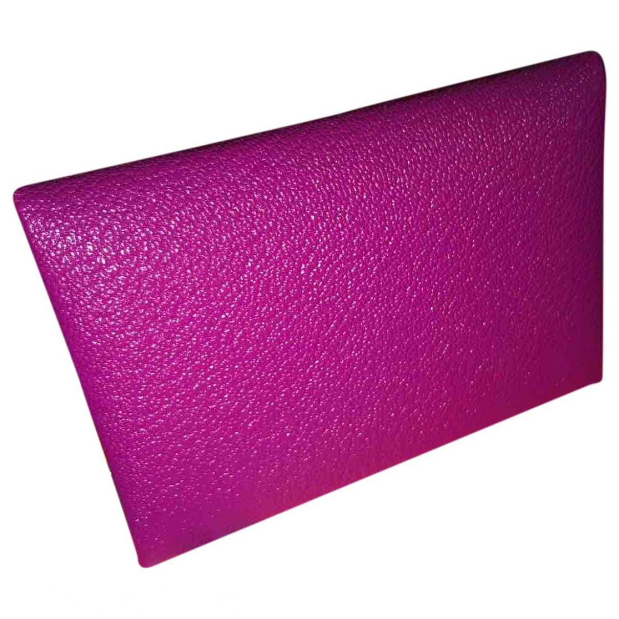 Hermes - Petite maroquinerie Calvi pour femme en cuir - rose