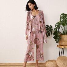 3 Stuecke Schlafanzug Set mit Pflanzen & Tier Muster & Robe