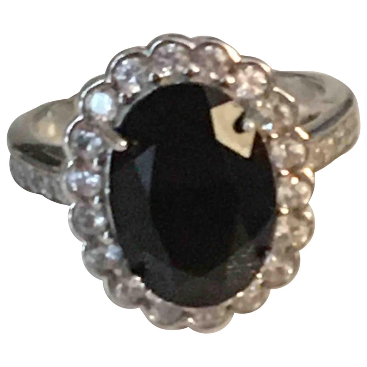 Non Signé / Unsigned Bagues Cocktails Black Silver Gilt ring for Women 60 EU
