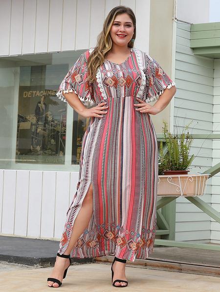 Yoins Plus Size Red Multi Slit Design Tribal Print Half Sleeves Dress