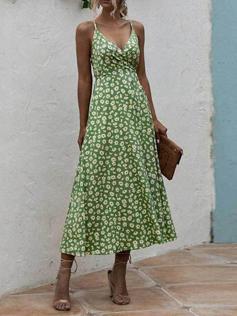 Ericdress Mid-Calf Sleeveless V-Neck Pullover Dress