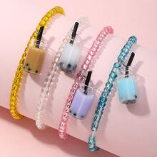 4pcs Toddler Girls Milk Tea Charm Beaded Bracelet