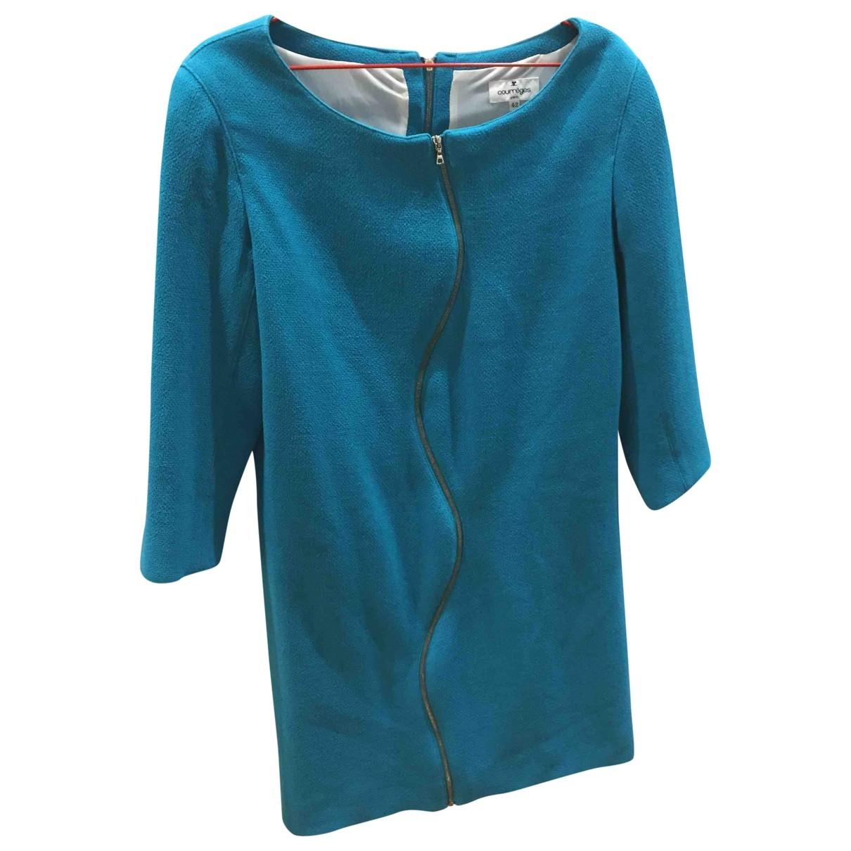 Courreges - Robe   pour femme en laine - turquoise