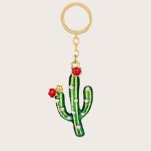 Rhinestone Cactus Charm Keychain