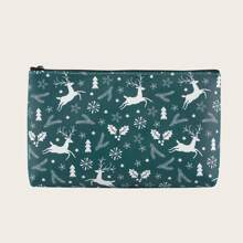 Christmas Deer Print Makeup Bag