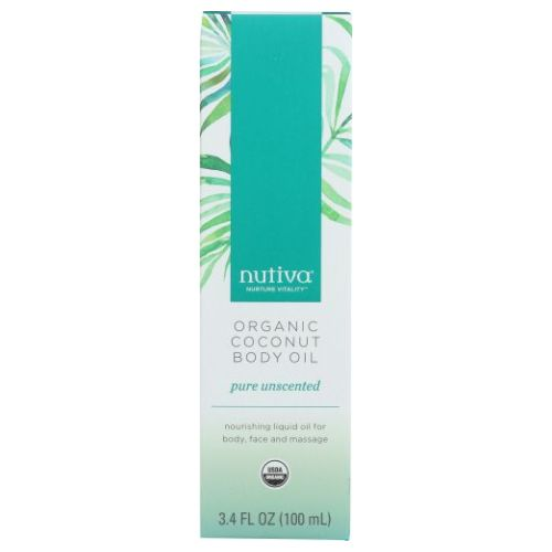 Organic Coconut Body Oil Unscented 3.4 Oz by Nutiva