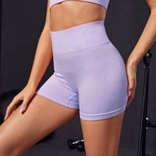 Einfarbige Sports Shorts mit breitem Taillenband